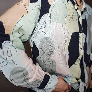 Zara Trafaluc Medium Modern Woman Print Blouse